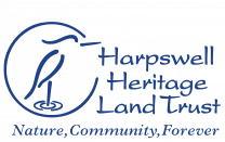 Harpswell Heritage land trust logo is a line drawing of a heron