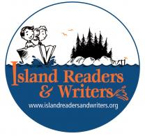 Island Readers & Writers logo with 2 children in book shaped boat near island