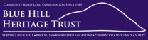Blue Hill Heritage Trust logo is a line drawing of the shape of blue hill mountain